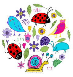 bird bug ladybug snail doodle vector image
