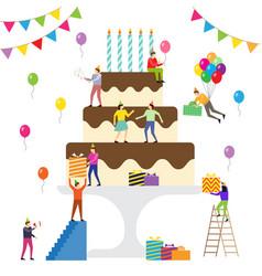 Birthday party people celebrate vector