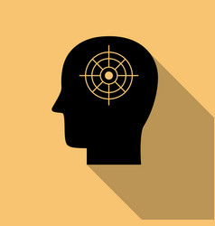 black human mind iconpurpose symbol with long vector image