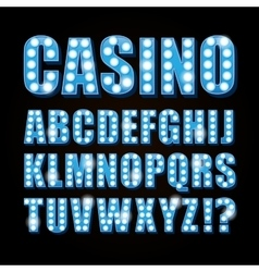 Blue neon lamp letters font show casino or vector