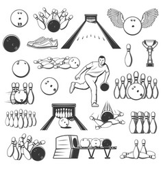 Bowling sport items equipment bowler and pins vector