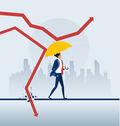 businessman holding umbrella protect graph down vector image