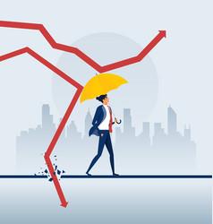 Businessman holding umbrella protect graph down vector