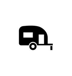 Caravan trailer home flat icon vector