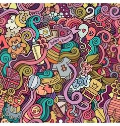 Cartoon doodle children seamless pattern vector