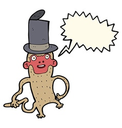 Cartoon monkey wearing top hat with speech bubble vector