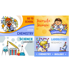 chemistry banner set cartoon style vector image