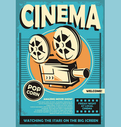 cinema poster with movie projector camera graphic vector image