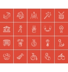 Circus sketch icon set vector image