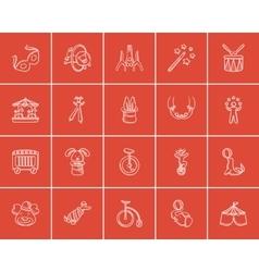 Circus sketch icon set vector image vector image