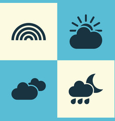 Climate icons set collection of colors weather vector