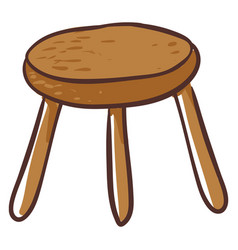 Clipart a round-shaped brown stool or color vector
