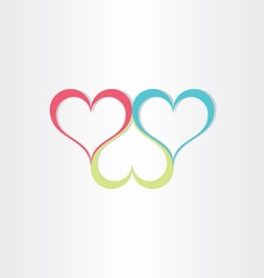 color hearts love symbol vector image