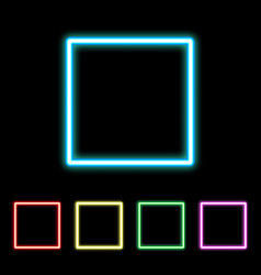 colorful neon square sign vector image