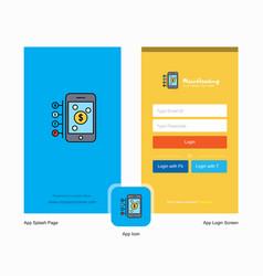 company money through smartphone splash screen vector image