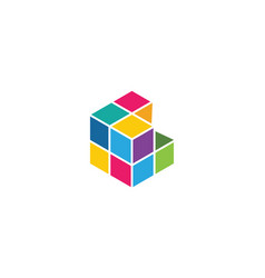 cube logo template icon vector image