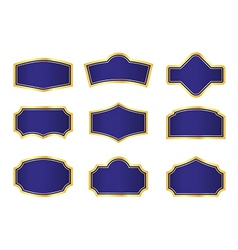 Dark Blue Vine Labels with Gold Frame vector