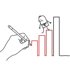 Drawing hand and cartoon businessman - going down vector