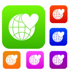 earth world globe with heart set collection vector image