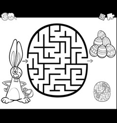 Easter maze activity for coloring vector