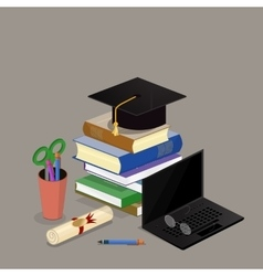 Education graduation license certificate flat 3d vector