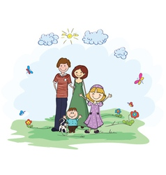 Family in park vector