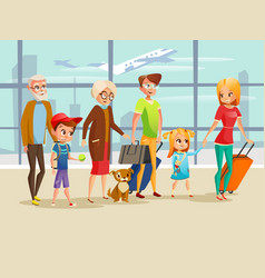 Family travel in airport of vector