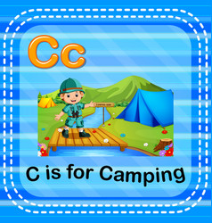Flashcard letter c is for camping vector