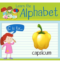 Flashcard letter C is for capsicum vector