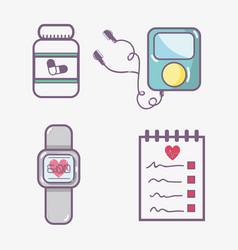 Flat line set icon fitness vector