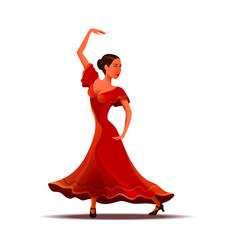 Girl in red dress dancing traditional dance vector