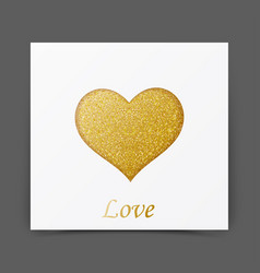 Gold sparkles card with heart shape vector