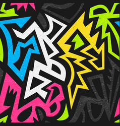 graffiti geometric seamless pattern with grunge vector image