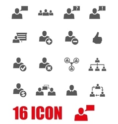 grey office people icon set vector image