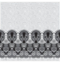 grey ornamental background with flower ribbon vector image