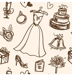 Hand drawn seamless pattern wedding accessories vector
