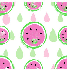 hand drawn watermelon pattern isolated on striped vector image