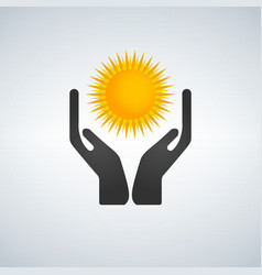 Hands protecting holding sun icon vector