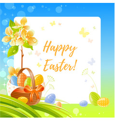 happy easter greeting card with basket blue sky vector image