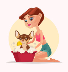 Happy smiling dog character takes bath with woman vector
