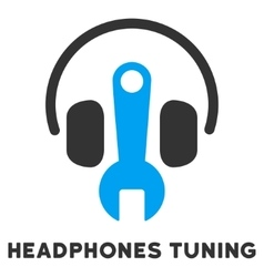 Headphones Tuning Flat Icon with Caption vector