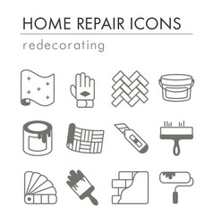 home repair remodelling redecoration icon set vector image