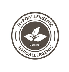 hypoallergenic product label with leaf - natural vector image