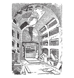 interior of the catacombs vintage vector image