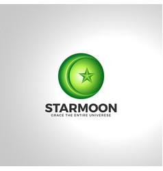 Islamic star moon 3d logo vector