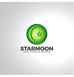 islamic star moon 3d logo vector image