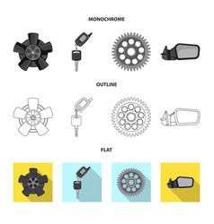 Isolated object of auto and part sign set of auto vector