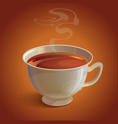 Isolated realistic white tea cup with vapor on vector