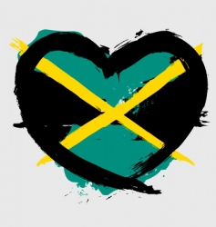 Jamaica heart shape flag vector