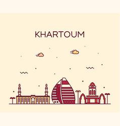 khartoum skyline sudan big city line style vector image